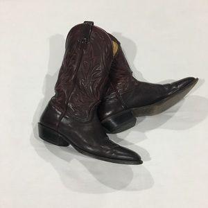 Nocona Burgundy Leather Round Toe Cowboy Boots
